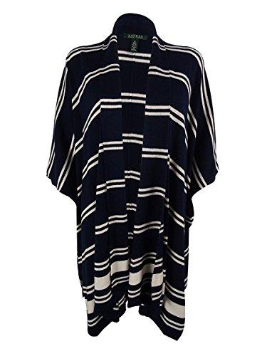 Womens Mandolie Drapey Striped Cardigan Sweater Navy S (Silk Striped Sweater)