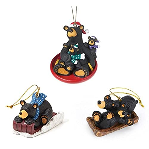 bearfoots black bear 3 sledding christmas ornaments set - Black Bear Christmas Decor