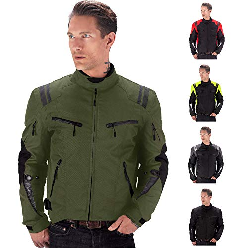 Viking Cycle Ironborn Motorcycle Textile Jacket For Men (Military Green, Large)