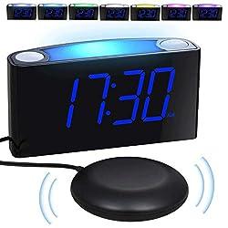 Loud Vibrating Alarm Clock Bed Shaker for Bedrooms Home Kitchen Desk, Heavy Sleepers Deaf Seniors Kids - Large Digital Display & Dimmer, Night Light, 2 USB Ports, Easy Set, 12/24 H DST, Battery Backup