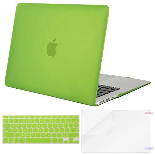 MOSISO Plastic Hard Case & Keyboard Cover & Screen Protector Only Compatible MacBook Air 13 Inch (Models: A1369 & A1466, Older Version Release 2010-2017),Translucent Greenery