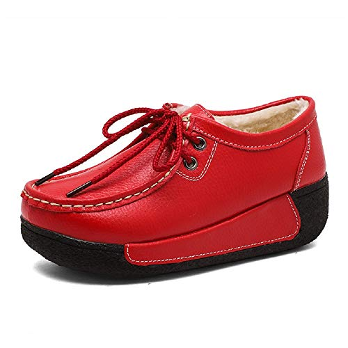 Giallo colore Con Pelliccia Lacci Rosso Donna Dimensione Scarpe In Da Eu Pelle Foderate Zhrui 39 nzwvqR0S0