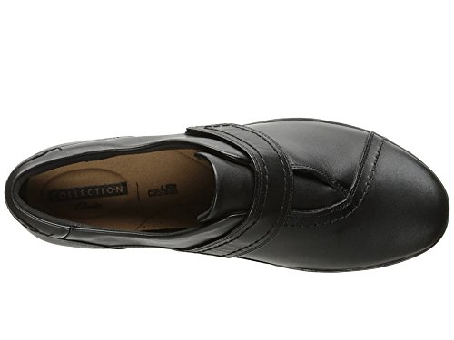 CLARKS Women's Everlay Dixey Slip-on Loafer, Black Leather, 7.5 N US