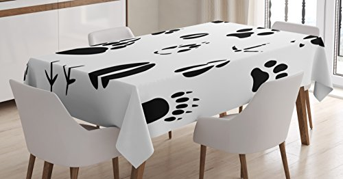 Wild Animal Footprints (Hunting Decor Tablecloth by Ambesonne, Set of Wildlife Animal Footprints Hooves Claw Silhouettes Ecology Nature, Dining Room Kitchen Rectangular Table Cover, 60 W X 84 L Inches, Black and White)