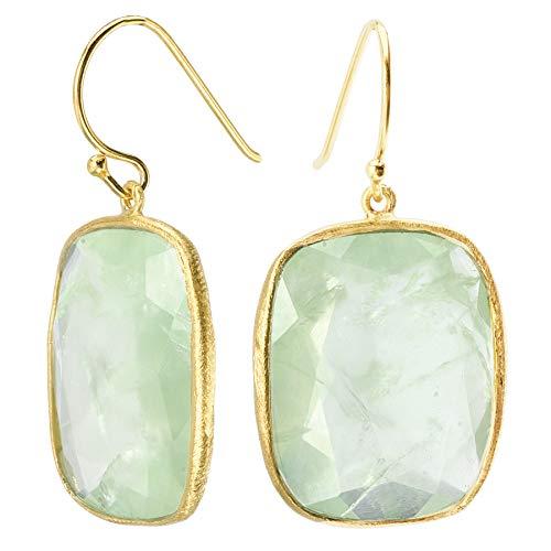 18k Gold over 925 Silver Rectangle Green Prehnite Earrings