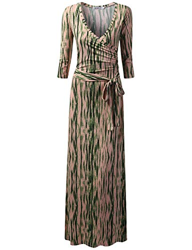 (NINEXIS Women's V-Neck 3/4 Sleeve Waist Wrap Front Maxi Dress TAUPEOLIVETIEDYE XS)