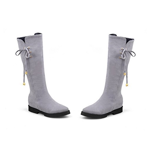 Kitten Pointed Solid Boots Closed Toe Heels Women's Suede AgooLar Imitated Zipper Gray v5RnwI0Fxq