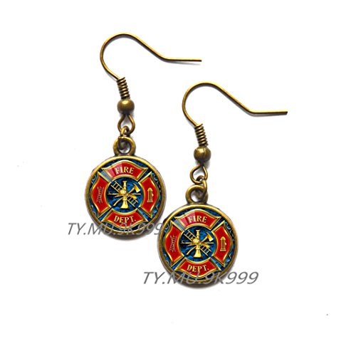 Yao0dianxku Hot New Fashion Gift for Firefighter Long Earrings Black Plated Fire Fighter Jewelry Glass Stud Earrings Earrings.Y010 (1)]()
