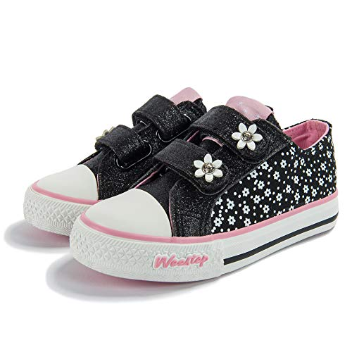 Weestep Toddler/Little Kid Glitter Double Strap Pink Sneaker (12 M US Little Kid, Black/Flower)