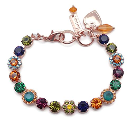Mariana Holiday Lights Swarovski Crystal Rose Goldtone Bracelet Multi Color Flower Mosaic 1116