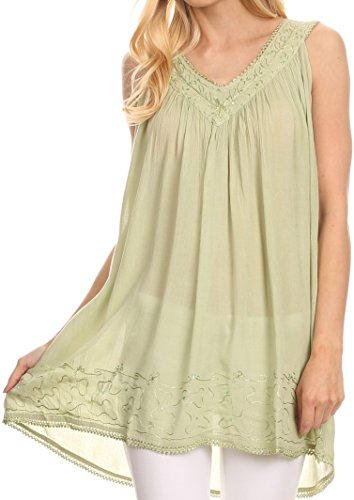 Sakkas 16521 - Rita Womens Picot Trim V Neck Tank Blouse With Seqins and Embroidery - Green - OS -