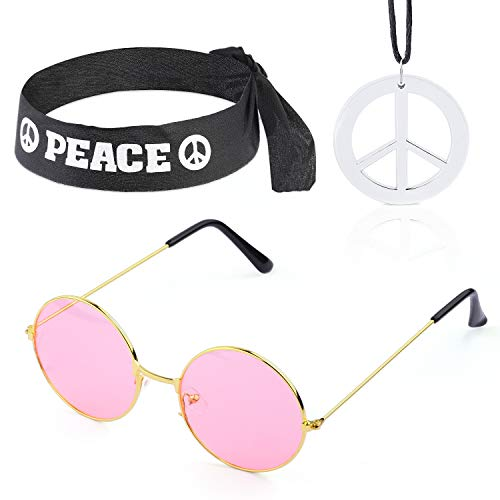 Beelittle Hippie Costume Set - 60's Style Circle Glasses Peace Sign Necklace Hippie Headband 60s Party Accessory Kit -