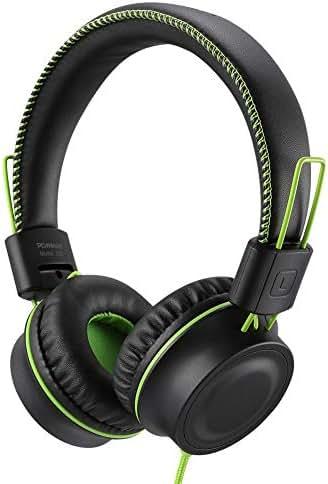 POWMEE M2 Kids Headphones Wired Headphone for Kids,Foldable Adjustable Stereo Tangle-Free,3.5MM Jack Wire Cord On-Ear Headphone for Children/Teens/Girls/School/Kindle/Airplane/Plane/ (Black)