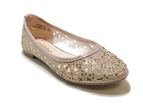 BellaMarie Kids Dress Ballet Flat Slip On Comfortable Ballerina CHAMPAGNE Synthetic Glitter Sparkle Shoes 10 US (Princess Bella)