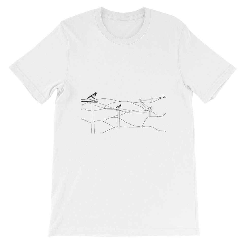 Cool Unisex T-Shirt Magpies on a Wire