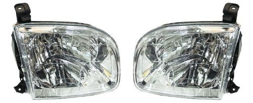 2001-2004 Toyota Sequoia & 2004 Tundra Pickup Truck (SR5 Crew/Double/Extended Cab 4-Door Models) Headlight Headlamp Head Light Lamp Pair Set Right Passenger And Left Driver Side (2001 01 2002 02 2003 03 2004 04) (2003 Toyota Sequioa Parts compare prices)