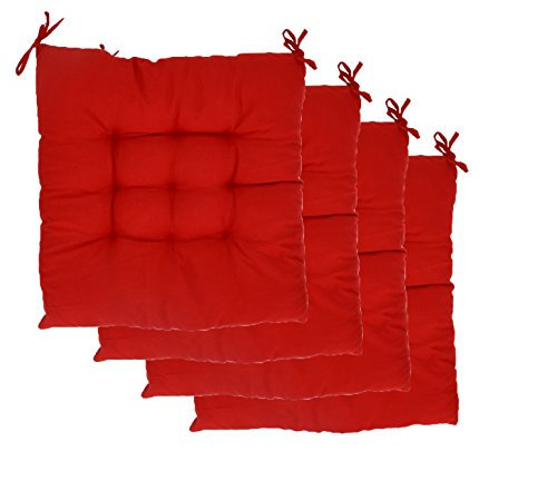 Elfjoy Solid Square Tufted Chair Pads Set of 4 Indoor/Outdoor Cushions Seats With Ties (Red) (Indoor Cushions Chair And Pads)