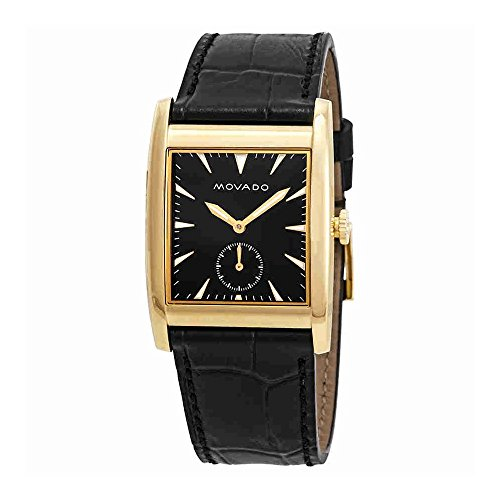 Men's Heritage Black Leather Band Steel Case Sapphire Crystal Swiss Quartz Analog Watch - Movado 3650049