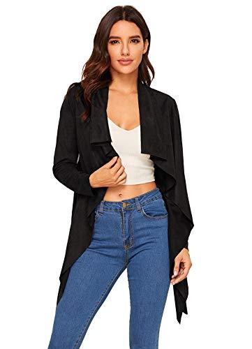 Black Suede Blazer - Milumia Women's Waterfall Collar Suede Long Sleeve Solid Jackets Outwear Black S