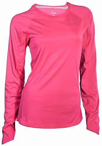 Nike women 39 s long sleeve dri fit stay warm running shirt for Hot pink running shirt