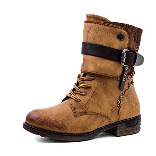 Marimo Damen Nieten Stiefel Biker Boots Schnür Stiefeletten in Lederoptik Camel