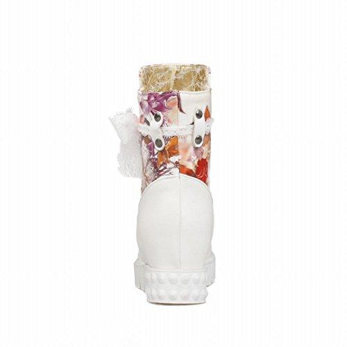 Carolbar Womens Moda Comfort Stampa Floreale Pizzo Colori Assortiti Stivali Abito Con Zeppa Stivali Arancione