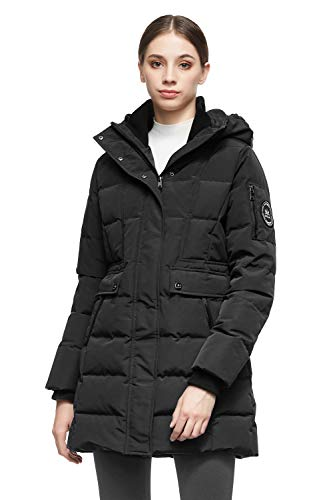 Orolay Women's Mid Length Hood Down Jacket Warm Winter Coat Black