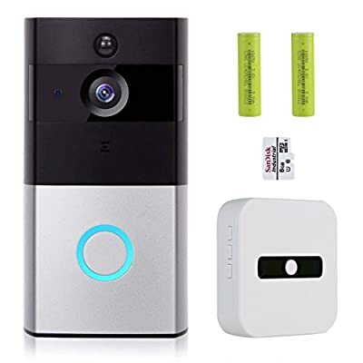COCOFANG Video and Smart Doorbell,720P HD Wifi Security Camera with Chime and 8G Memory Storage, Real-Time Two-Way Talk and Video, Night Vision and App Control for IOS and Android