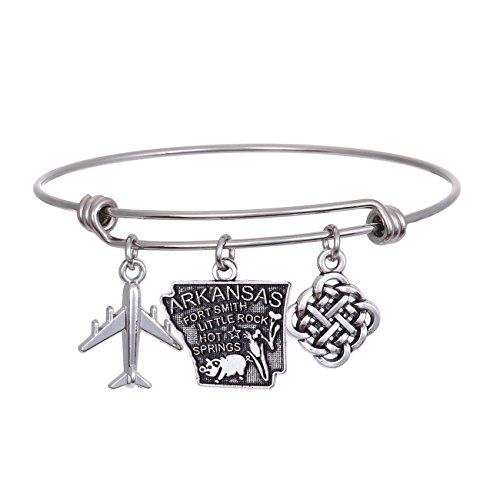 (JJTZX State Bangle U.S. Map Charm Expandable Travel Bracelet Long Distance Relationship Gift Best Friends Bracelet (Arkansas))