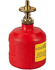"Justrite 14004 8 oz Capacity, 5 1/2"" H, 3 1/8"" O.D High-Density Polyethylene Red Dispenser Can"