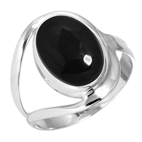 Natural Black Onyx Women Jewelry 925 Sterling Silver Ring Size 8