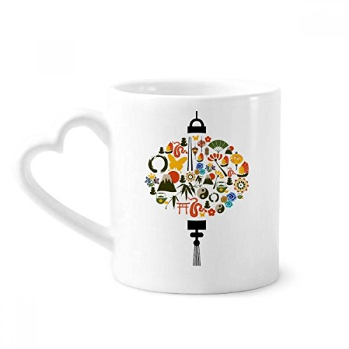 Fan Butterfly Taiji Teapot Mountain Coffee Mugs Pottery Ceramic Cup With Heart Handle 12oz Gift