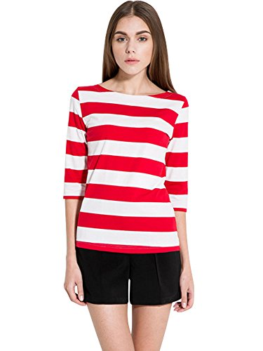 Luckco Women's 3/4 Sleeve Boat Neck Striped T-Shirt Relax Fit Casual Tops Small (Very Revealing Halloween Costumes)