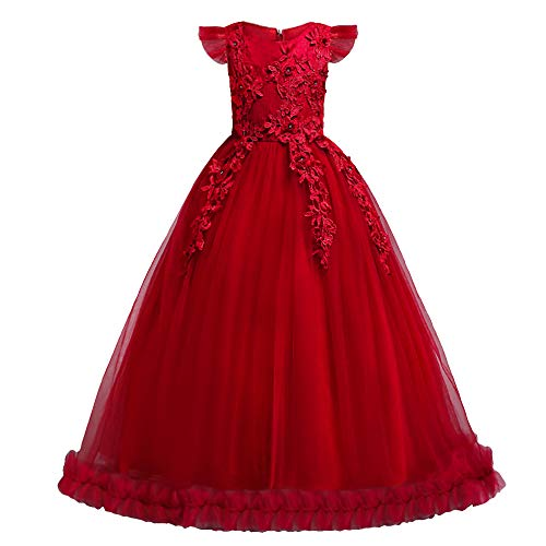 HUANQIUE Girls Pageant Party Long Dresses Flower Girl Wedding Dress Red 7-8 -