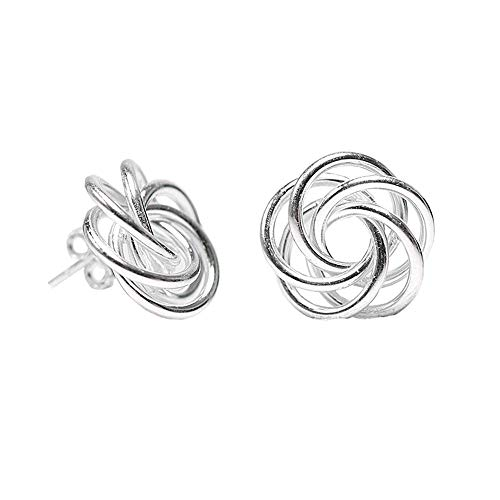 LeCalla Sterling Silver Jewelry Italian Design Love Knot Stud Earring for Women