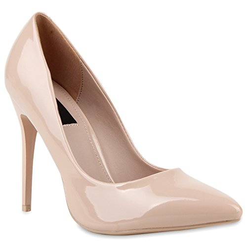 Stiefelparadies Spitze Damen Pumps Stiletto High Heels Lack Leder-Optik Schuhe Elegante Absatzschuhe Party Abendschuhe Abiball Flandell Creme Lack