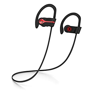 SENSO Bluetooth Wireless Headphones, Best Sports Earphones w/Mic IPX7 Waterproof HD Stereo Sweatproof Earbuds for Gym Running Workout 8 Hour Battery Noise Cancelling Headsets HiFi Cordless Headphones