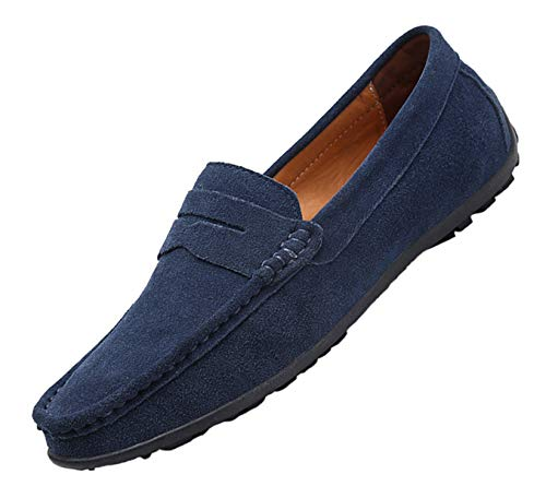 TSIODFO Suede Loafers for Men Slip on Dress Shoes Breathable Leather Flat Fashion Driving Shoes Penny Driver Walking Sneakers Moccasin Business Casual Shoes Big Plus Size 11 (890-navyblue-45)