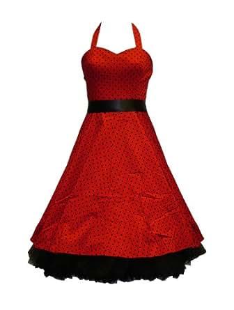 50's Small Polka Dot Dress Red - 2XL = 14 (US), 18 (UK)