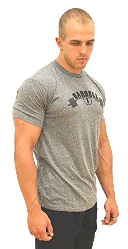 Pill Barbell (Barbell 1 Muscle Contouring Lifting T-Shirts Soft Tri-blend – Look More Muscular (L, Light Heather Grey))