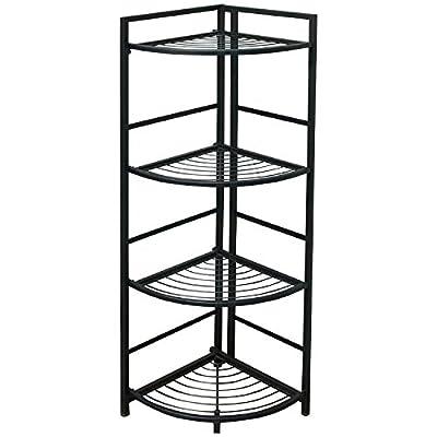 FlipShelf Corner Shelving Unit, 13 W x 13.5 D x 45.5 H Inches, Powder-Coated Steel, Black (37641)
