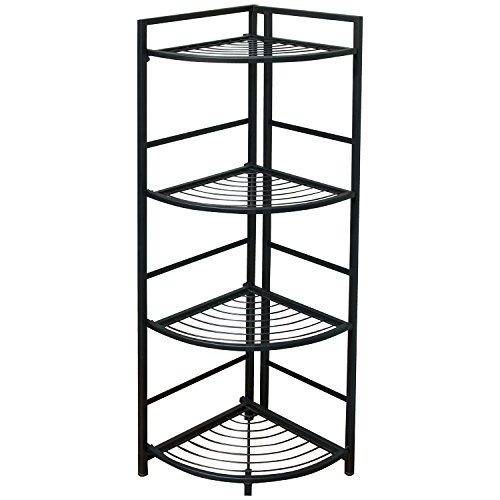 Flipshelf-Folding Metal Shelf-Small Space Solution-No Assembly-Home,Kitchen,Bathroom and Office Shelving-Corner Shelf, Black