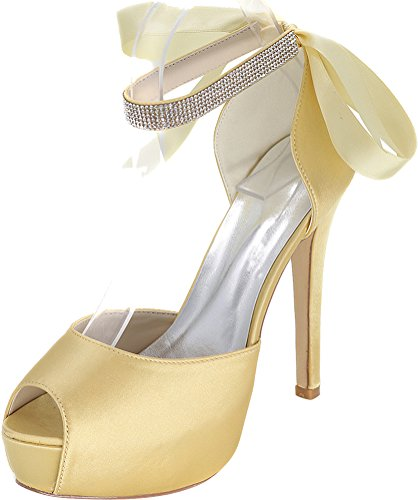 Salabobo 3128-08E Ladies Comfort Platform Bride Bridesmaid Party Prom Wedding Dress Work Comfort Peep Toe Satin Rhinestone Ribbon Ankle Strap Pumps Gold 6AyT2