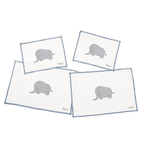 Kids Placemat, Caroeas Elephant Cute Placemat Washable Linen Placemat Stain-proof Baby Placemat Natural Placemats for Kid Use, Set of 4 Mixed Sizes (Thanksgiving Placemat Personalized)