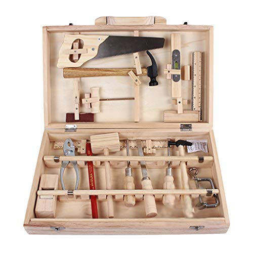 Ama-store Maintenance Tools Toys Wooden Tool Set Toys Construction Accessories Set Fun Tool Box Kit for Kids Educational Toy Multi-Function Woodworking Box Wooden Puzzle Set ()