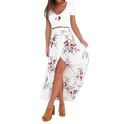 de Femme Longue Robe soie Imprim Bohme Blanc LAEMILIA Mousseline en Maxi Vacances Voyage Pour Plage Jupe Fleur Aw5npx8tq