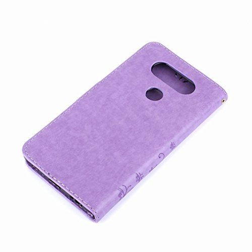 Yiizy LG V20 (H910, H918, LS997. US996. VS995) Custodia Cover, Erba Fiore Design Premium PU Leather Slim Flip Wallet Cover Bumper Protective Shell Pouch with Media Kickstand Card Slots (Chiaro Porpora
