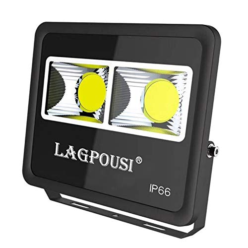 LAGPOUSI 100W LED Flood Lights, Super Bright Work Lights,500W Halogen Bulb Equivalent, IP66 Waterproof, 10000Lm, 6000K(white, Outdoor Floodlight for Garage, Garden, Lawn and Yard (100)