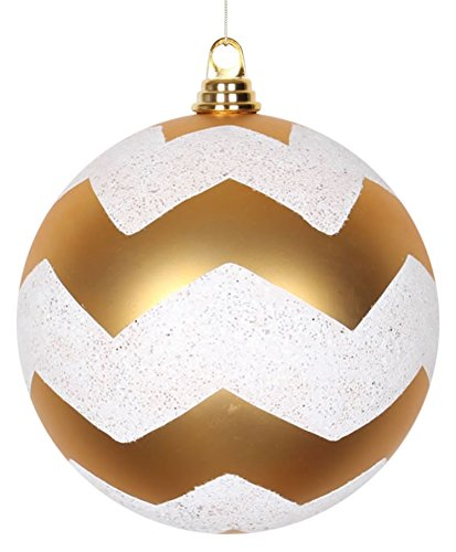 (Vickerman Chevron Matte Finish Glitter Accented Shatterproof Christmas Ball Ornament, 8