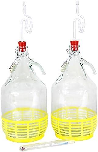 Rubber Stopper Starter Set 7-Piece 2x 5 Litres Wine Balloon Alcohol Metre Fermentation Airlock